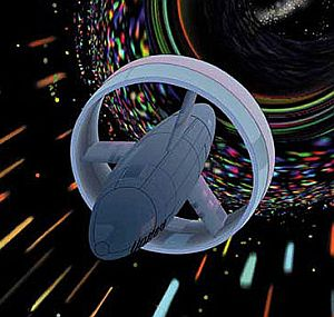 Artist's impression of space craft fitted with the Alcubierre warp drive