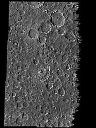 A cratered plain on the surface of Jupiter's moon, Callisto