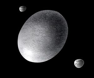 Artist's impression of dwarf planet Haumea and its two moons