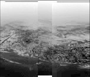 A view of Saturn's moon Titan, taken by the Huygens probe