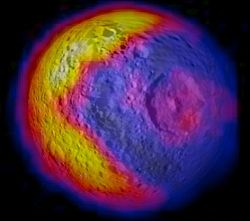 A temperature map of Saturn's moon Mimas, showing the