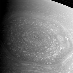 Saturn's hexagonal storm
