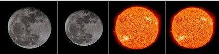 The comparative sizes of the Moon and the Sun, as seen from Earth