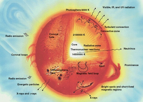 The different interior layers of the Sun