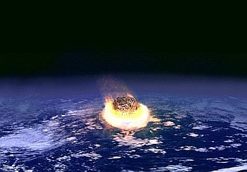 artist's impression of a large asteroid colliding with Earth