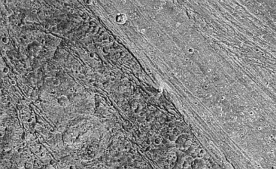 the surface terrain on Jupiter's moon Ganymede