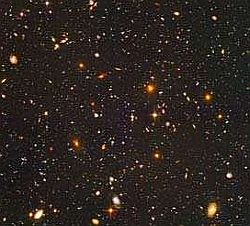 The Hubble Telescope deep field image of the most distant galaxies