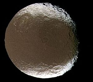 The dark face of Saturn's moon Iapetus