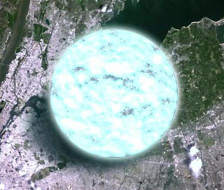 A neutron star superimposed on a satellite image of Earth