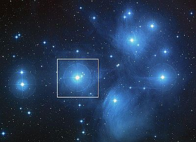 The constellation Pleiades, highlighting Alcyone, a blue giant