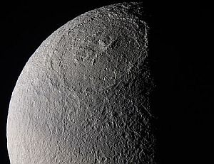 The huge crater Odysseus on Saturn's moon Tethys